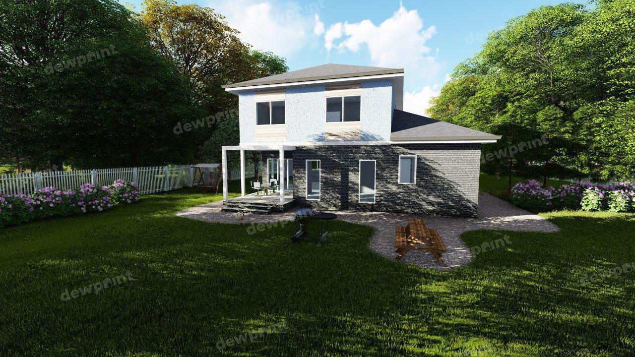 Проект двухэтажного дома ДП-11